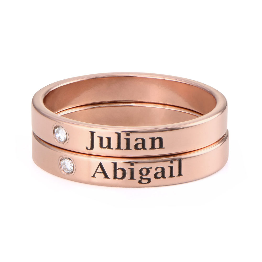 Stackable Name Ring in Rose Gold Plating with Diamond - 2