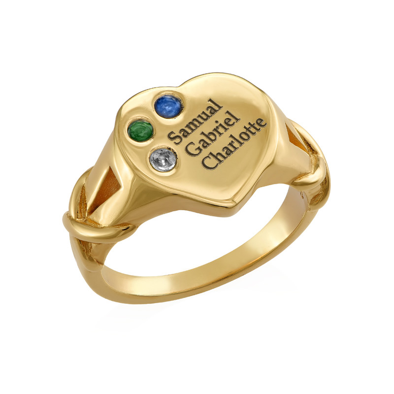 Heart Shaped Signet Mothers Ring with Birthstones - Gold Plated