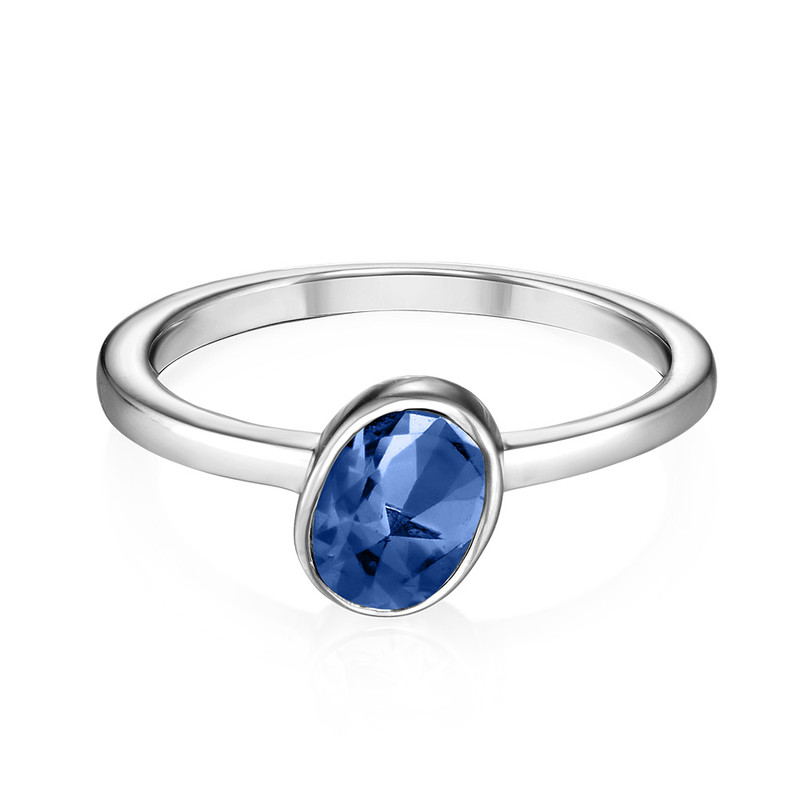 Sterling Silver Stackable Oval Blue Sapphire Ring - 1