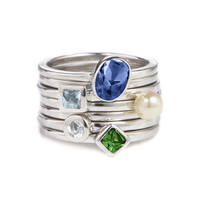 Sterling Silver Stackable Oval Blue Sapphire Ring - 2