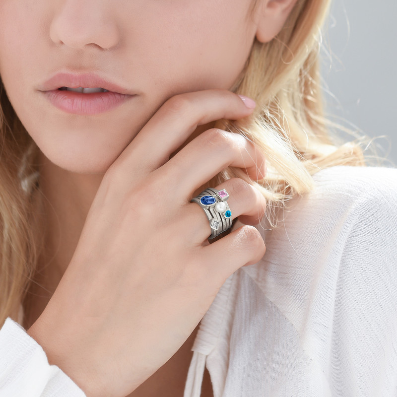 Sterling Silver Stackable Oval Blue Sapphire Ring - 3