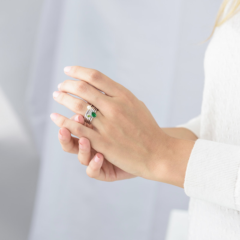Sterling Silver Stackable Oval Emerald Ring - 3