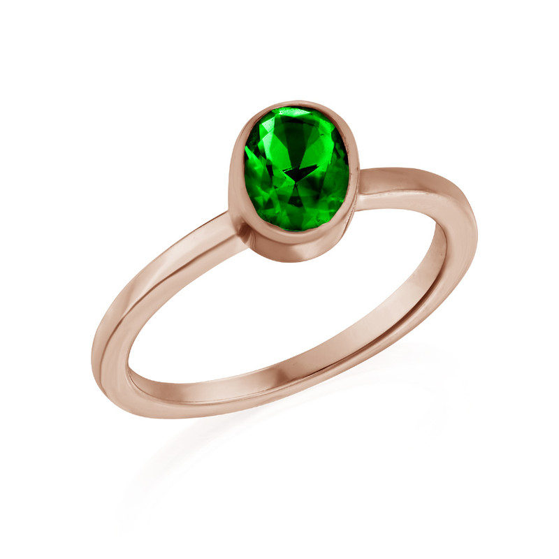 18K Rose Gold Plated Stackable Emerald Green Oval Ring