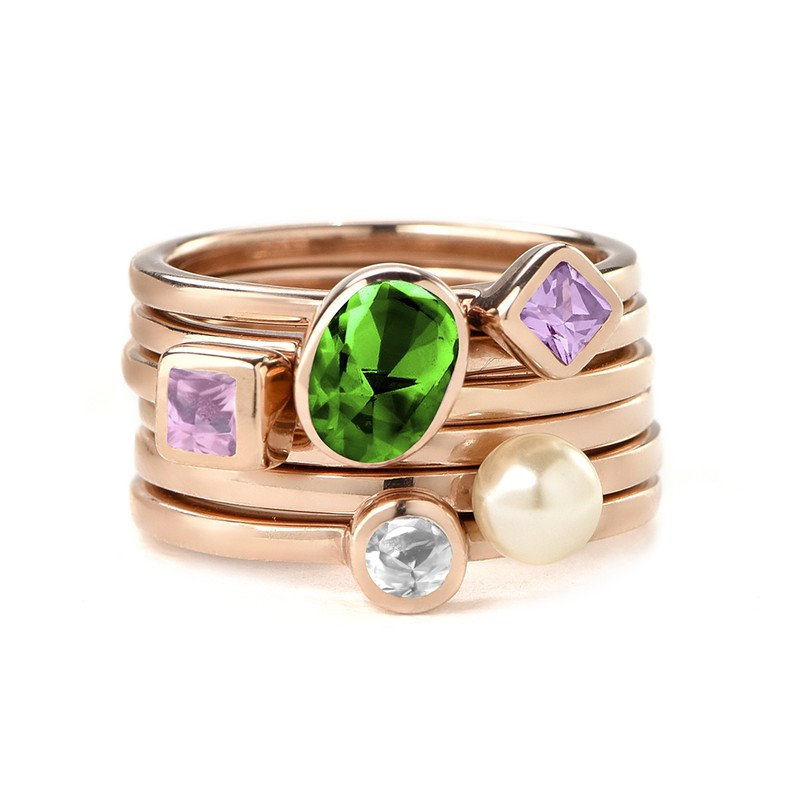 18K Rose Gold Plated Stackable Emerald Green Oval Ring - 2