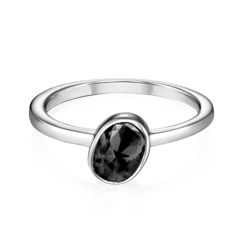 Sterling Silver Stackable Oval Shock Black Ring - 1