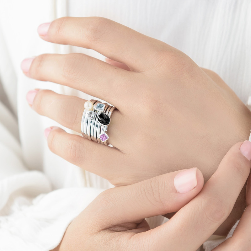 Sterling Silver Stackable Oval Shock Black Ring - 3