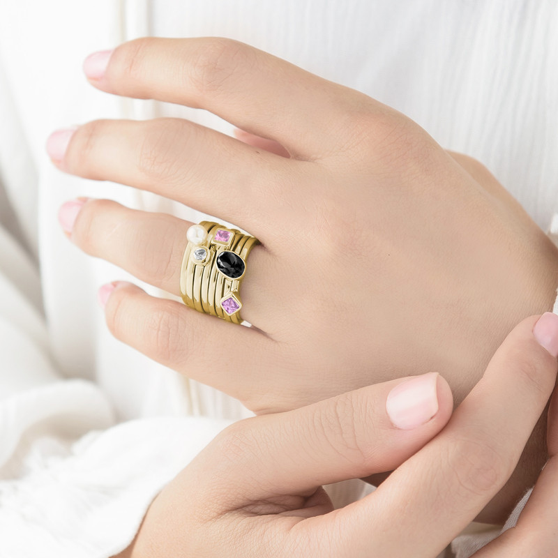 18K Gold Plated Stackable Oval Shock Black Ring - 3