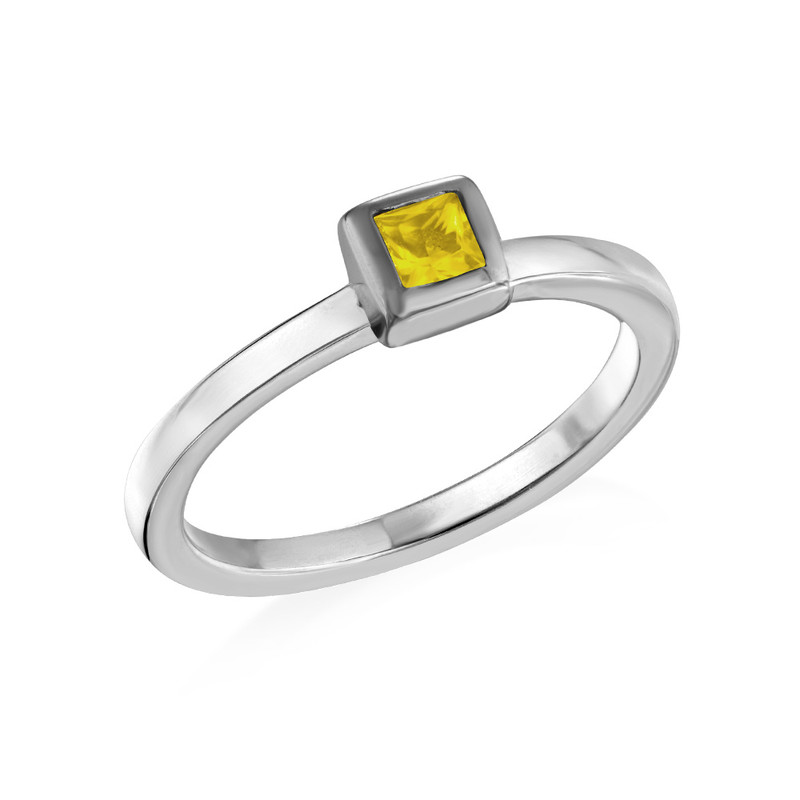 Sterling Silver Stackable Square Sunshine Yellow Ring