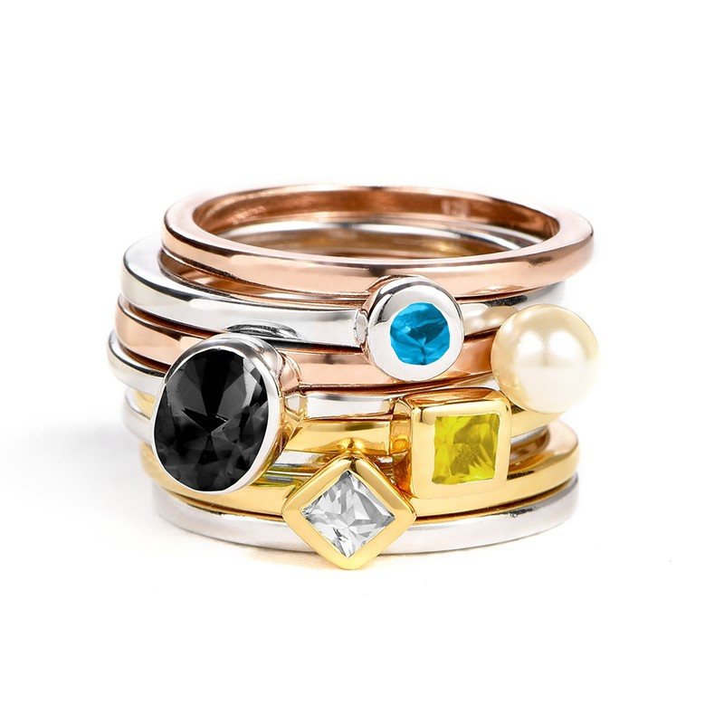 18K Gold Plated Stackable Square Sunshine Yellow Ring - 2
