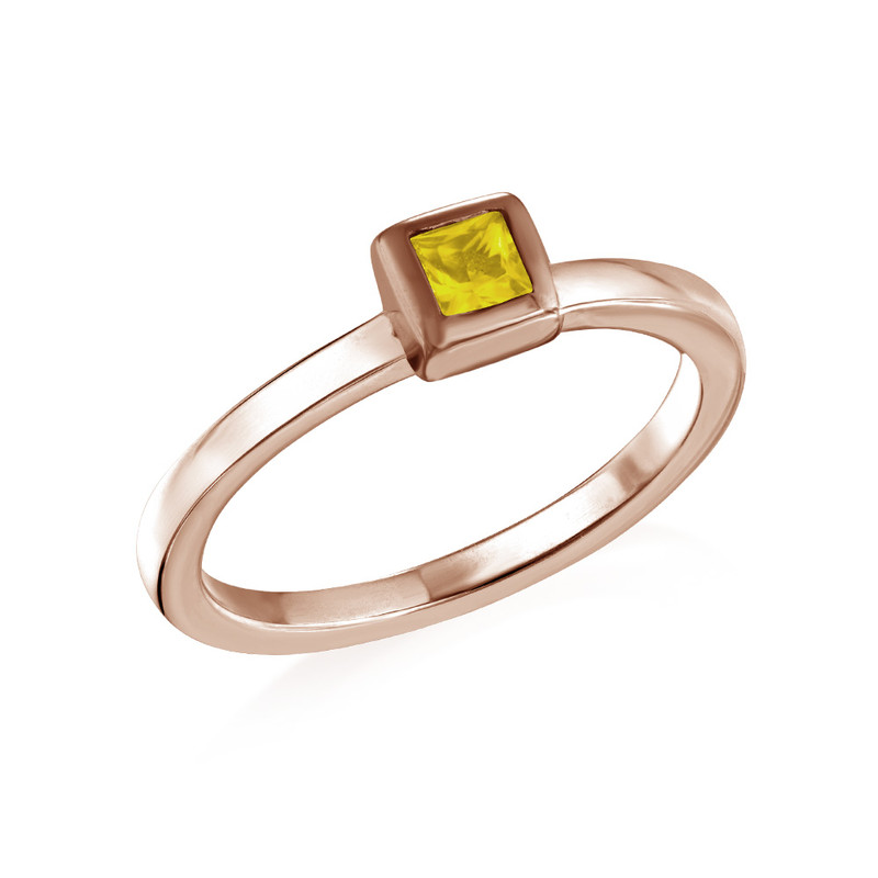 18K Rose Gold Plated Stackable Square Sunshine Yellow Ring
