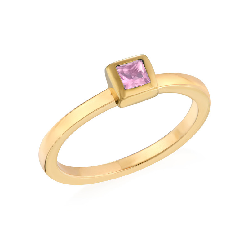 18K Gold Plated Stackable Square Misty Rose Ring
