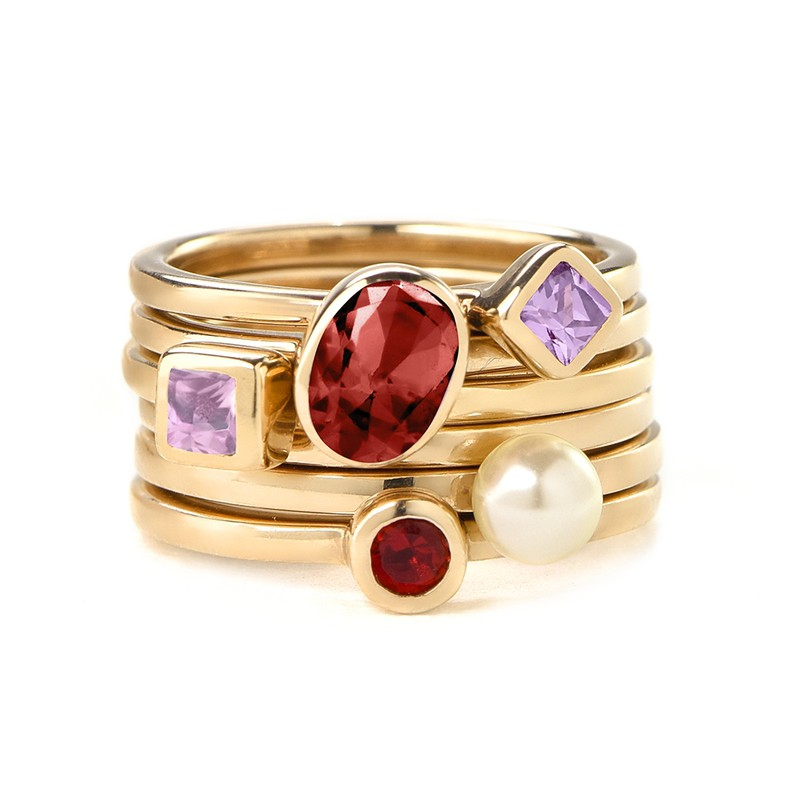 18K Gold Plated Stackable Square Misty Rose Ring - 2