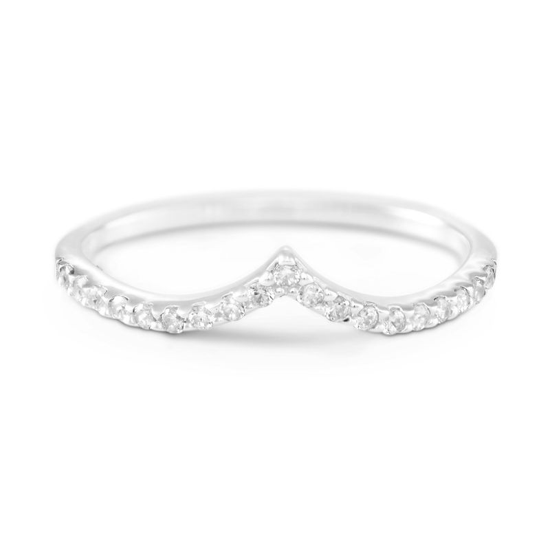 V Ring with Cubic Zirconia in Sterling Silver