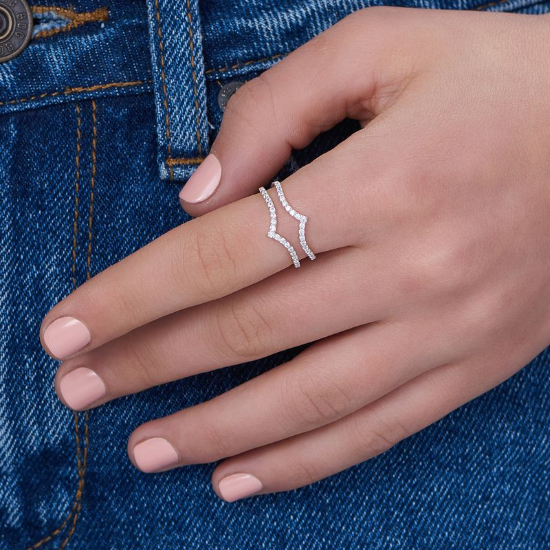 V Ring with Cubic Zirconia in Sterling Silver - 3