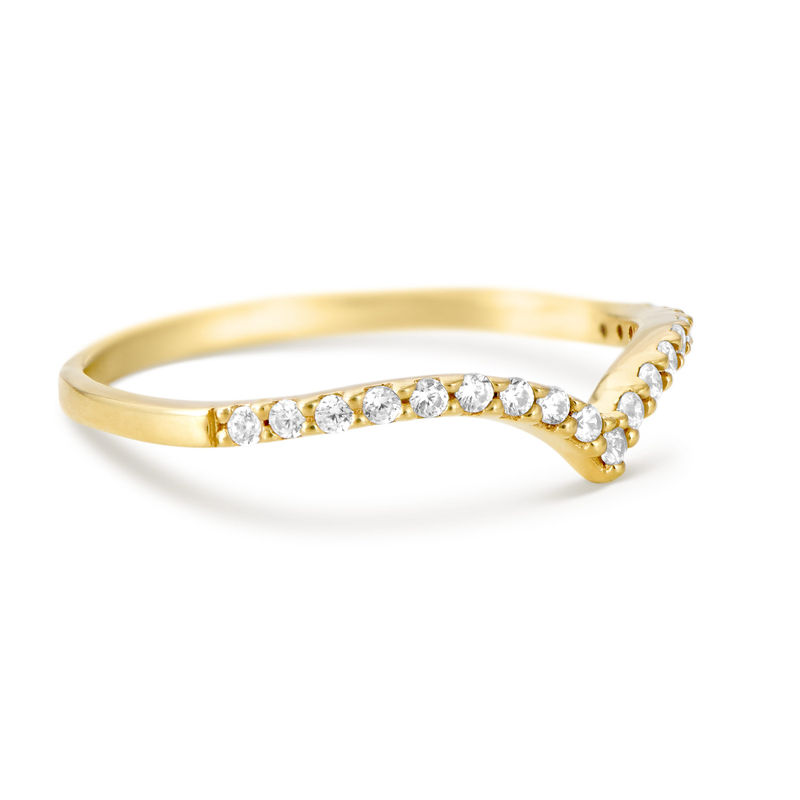 V Ring with Cubic Zirconia in Gold Plated - 1