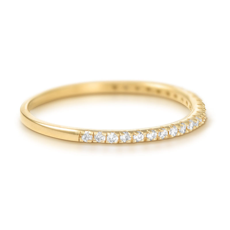 Delicate Gold Plated Cubic Zirconia Ring - 1