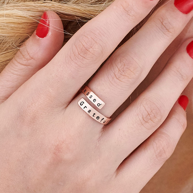 Engravable Ring Wrap in Rose Gold Plating - 5