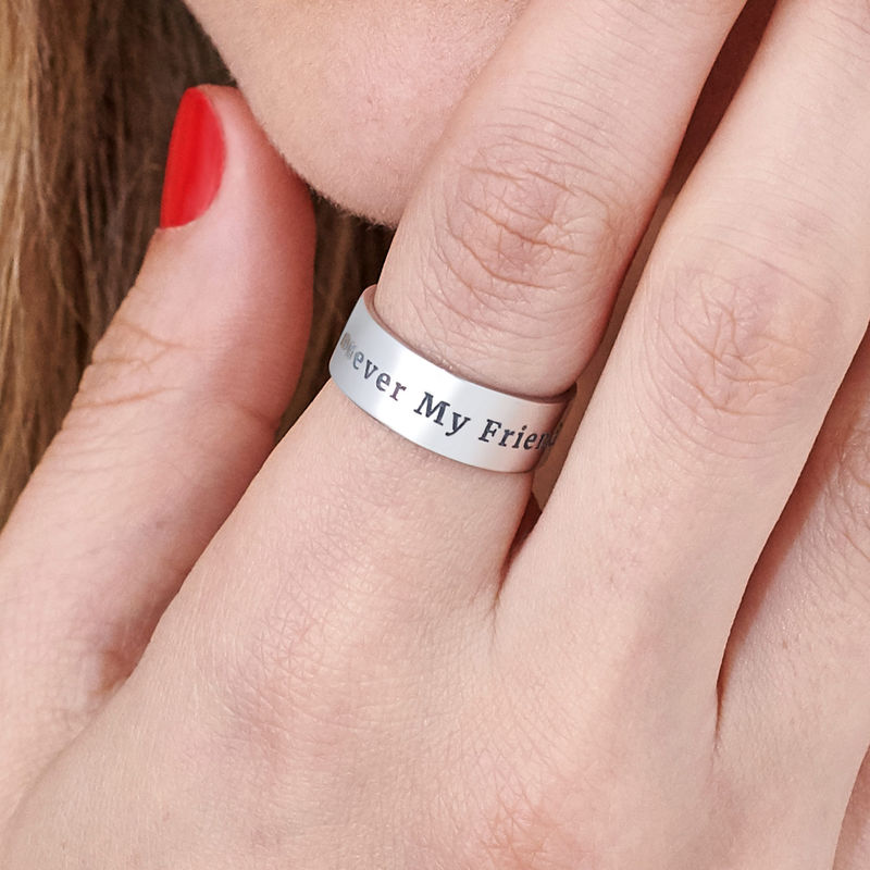 Personalized Wide Name Ring in Silver - 4