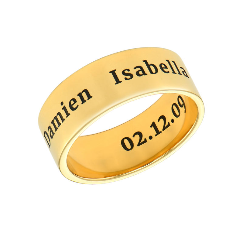 Personalized Wide Name Ring in Gold Plating