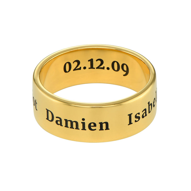Personalized Wide Name Ring in Gold Plating - 1