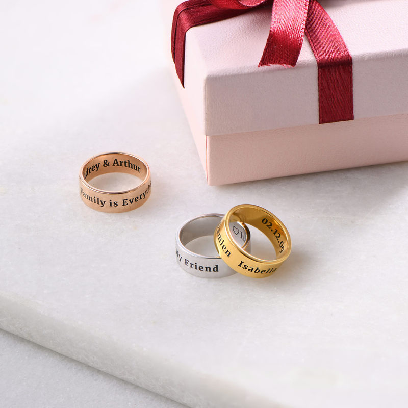 Personalized Wide Name Ring in Rose Gold Plating - 2