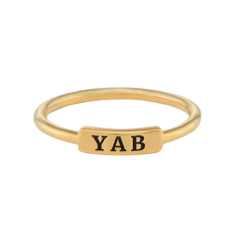 Stackable Nameplate Ring in Gold Plating - 1