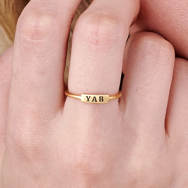 Stackable Nameplate Ring in Gold Plating - 4