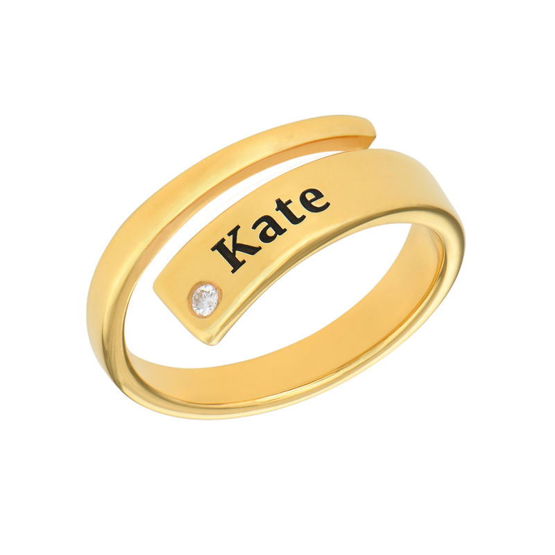 Custom Wrap Name Ring with Cubic Zirconia in Gold Plating