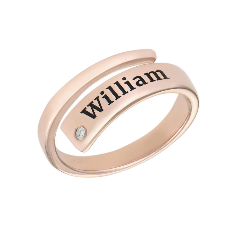 Custom Wrap Name Ring with Cubic Zirconia in Rose Gold Plating