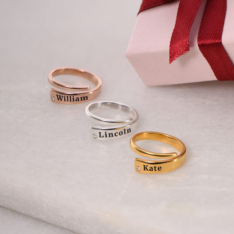 Custom Wrap Name Ring with Cubic Zirconia in Rose Gold Plating - 2