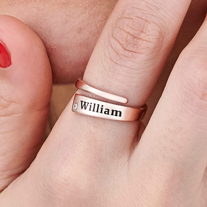 Custom Wrap Name Ring with Cubic Zirconia in Rose Gold Plating - 4