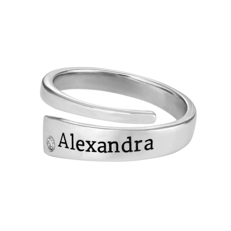 Custom Wrap Name Ring with Diamond in Silver - 1