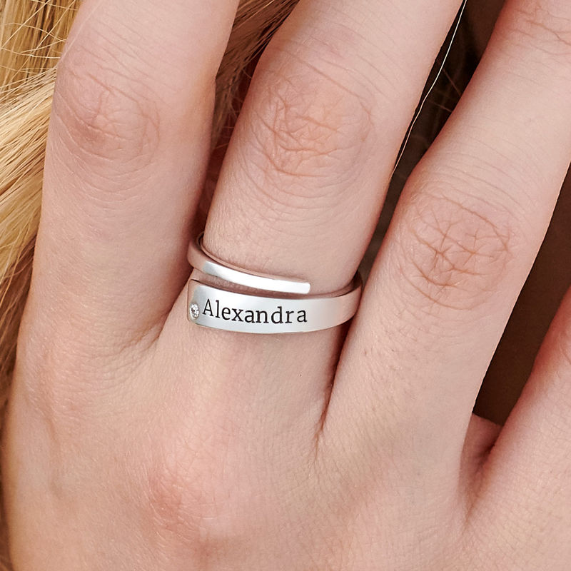 Custom Wrap Name Ring with Diamond in Silver - 3