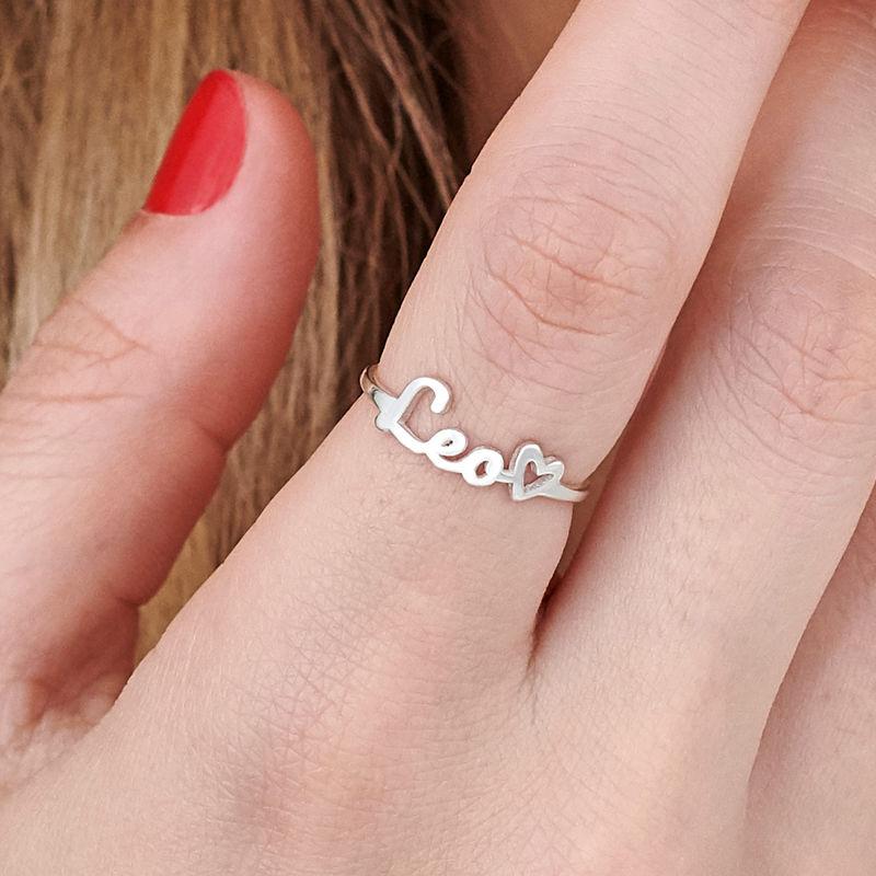 Script Name Ring in Silver - 3