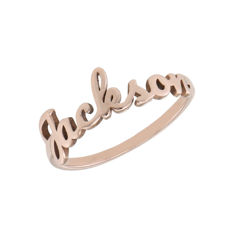 Script Name Ring in Rose Gold Plating