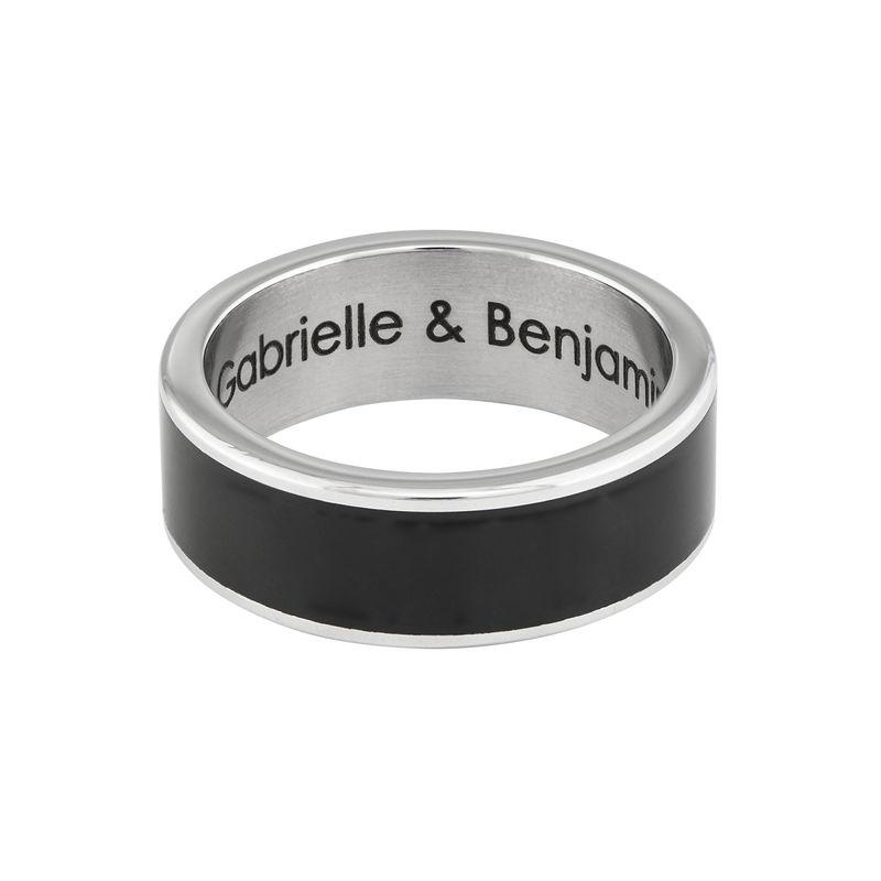 Engraved Stainless Steel Black Men Ring - 1