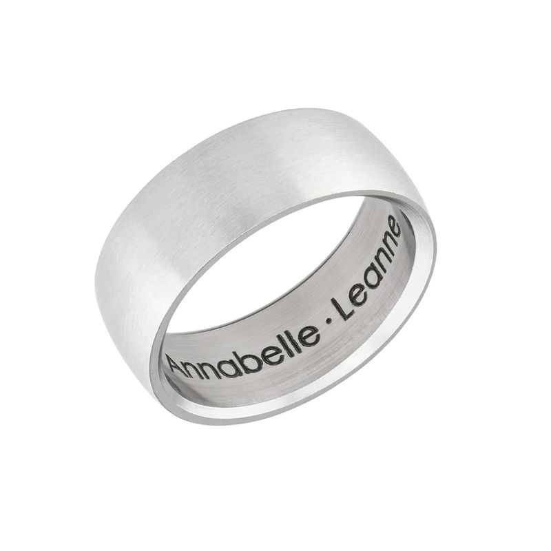 Engraved Men's Classic Band Ring in Stainless Steel