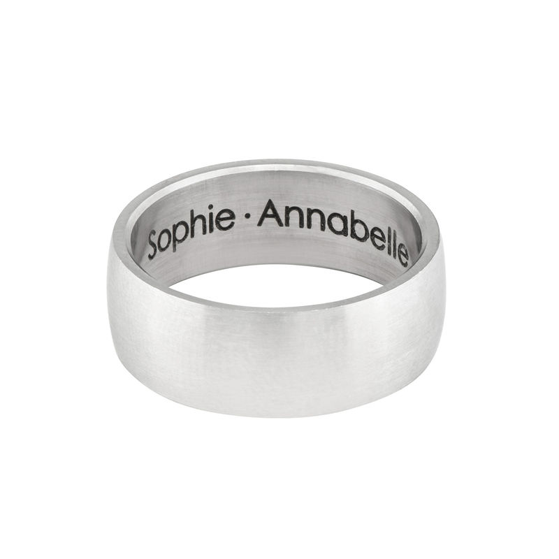 Engraved Men's Classic Band Ring in Stainless Steel - 1