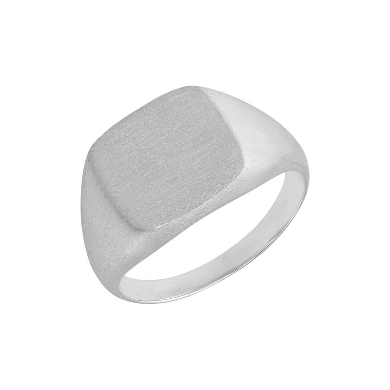 Engraved Signet Ring for Men in Matte Silver