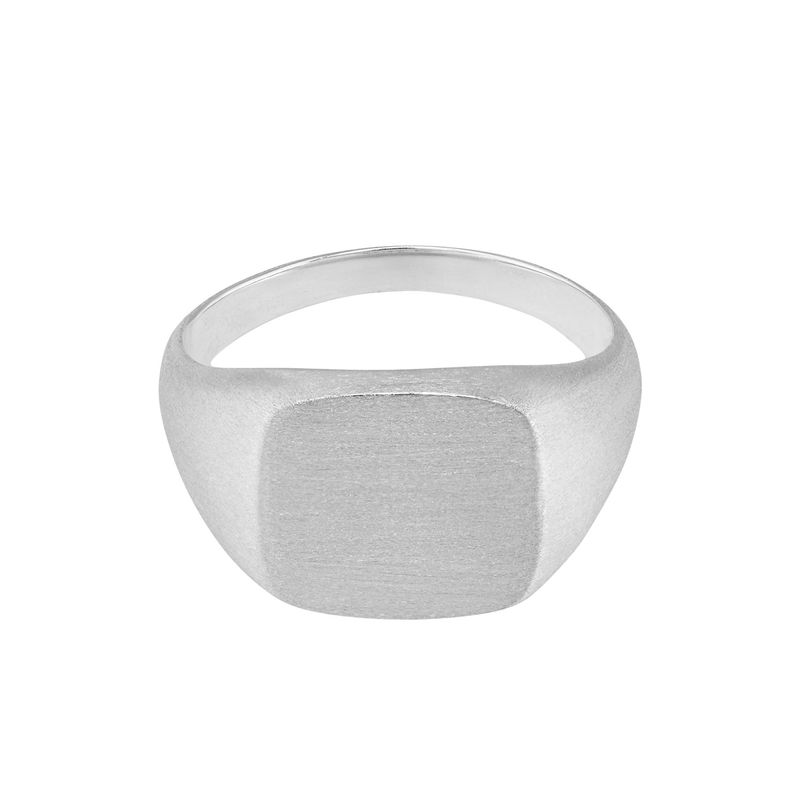 Engraved Signet Ring for Men in Matte Silver - 1