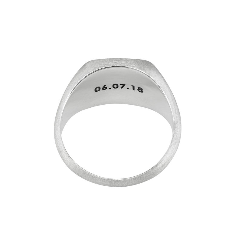 Engraved Signet Ring for Men in Matte Silver - 2