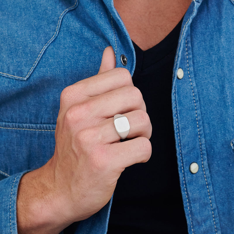 Engraved Signet Ring for Men in Matte Silver - 4