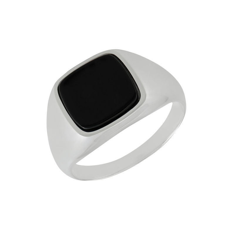 Custom Onyx Stone Signet Ring in Sterling Silver for Men