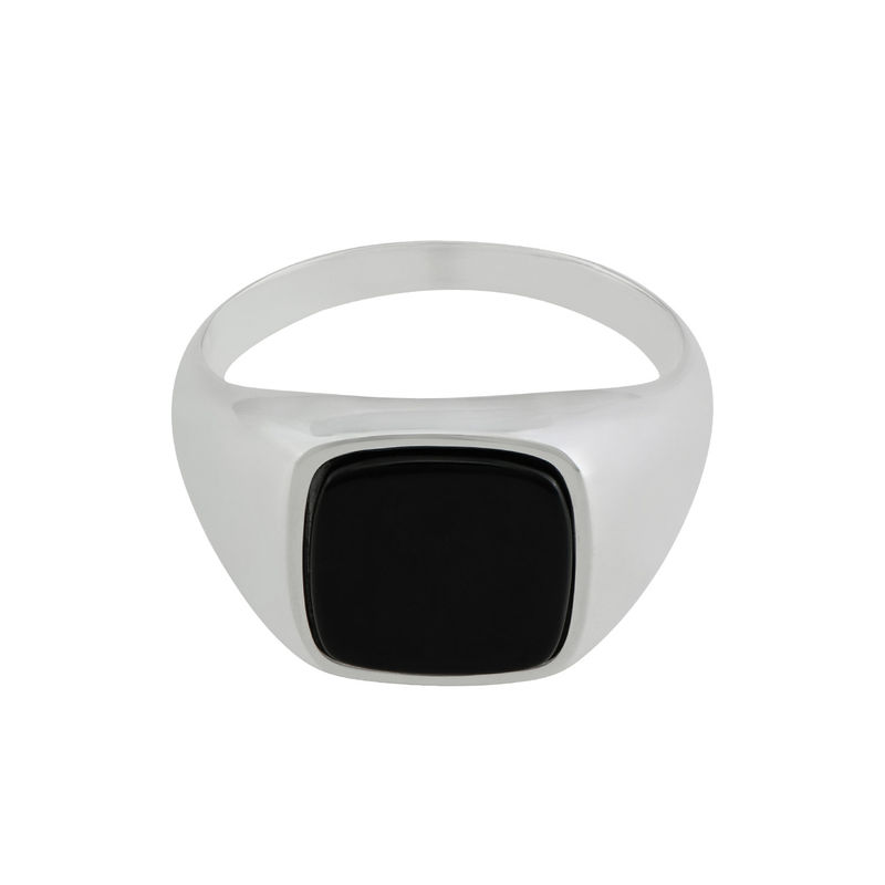 Custom Onyx Stone Signet Ring in Sterling Silver for Men - 1