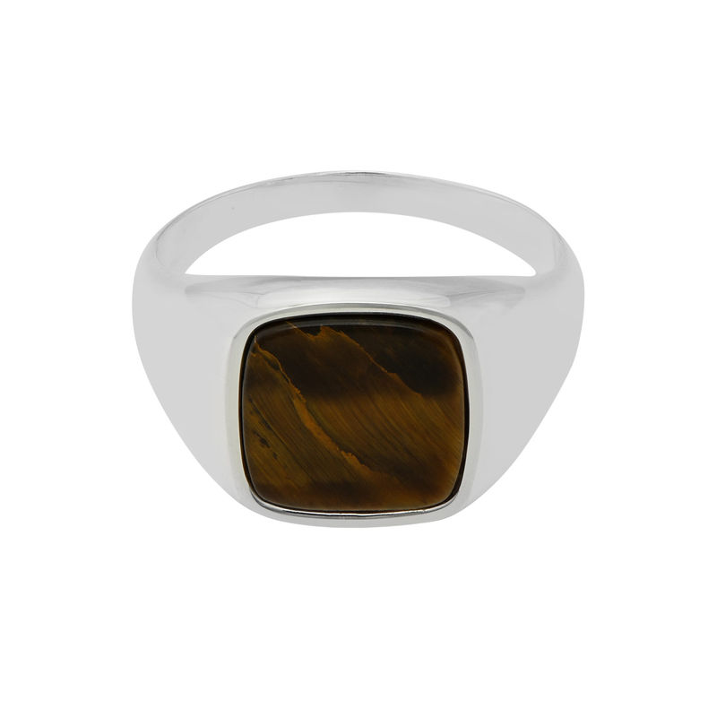 Custom Tiger Eye Signet Ring in Sterling Silver for Men - 1