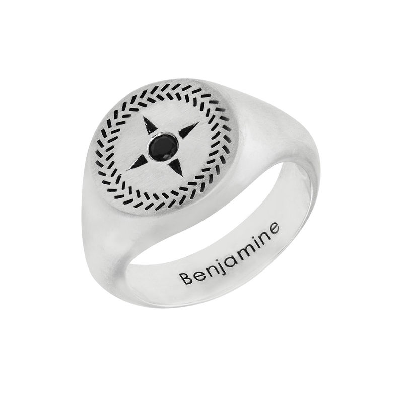 Personalized Compass Round Signet Ring in Silver for Men
