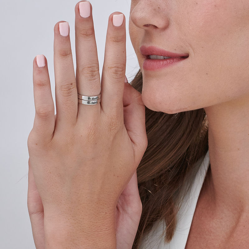 Engraved Thin Band Ring in Sterling Silver - 5
