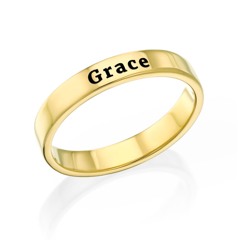 Engraved Thin Band Ring in Gold Plating
