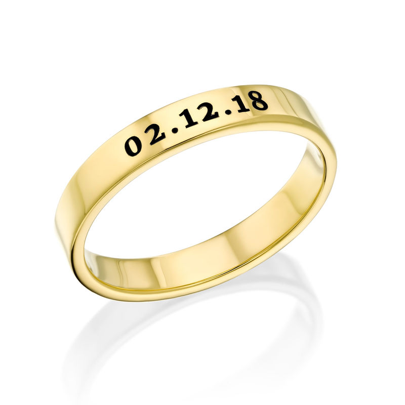 Engraved Thin Band Ring in Gold Plating - 1