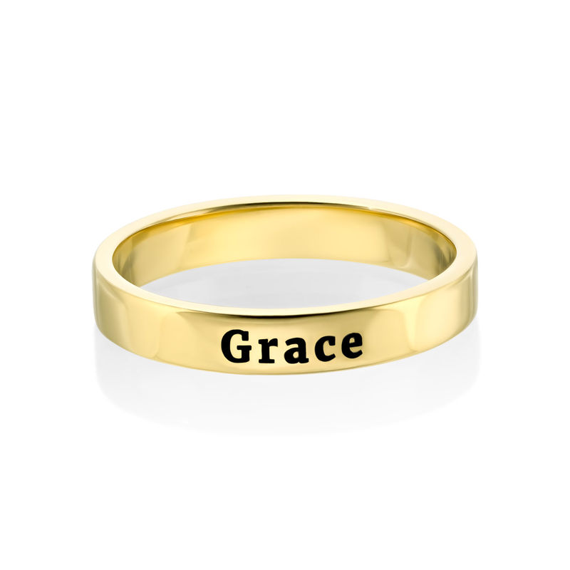 Engraved Thin Band Ring in Gold Plating - 3